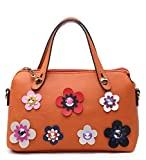 Ladies Faux Leather 5D Flower Handbag Designer Floral Bowler Shoulder Bag