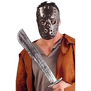 Masque de Jason en plastique avec film machette vendredi 13