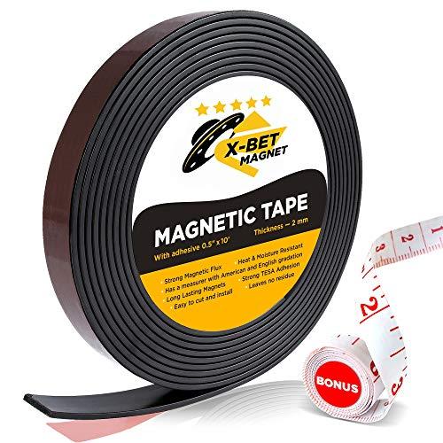 Flexibler Magnetstreifen - 1,27 cm x 305 cm Magnetband selbstklebend stark - Perfektes Magnetklebeband für Bastel- und Heimwerkerprojekte - Anisotrope Haftmagnete - Ferroband Magnete