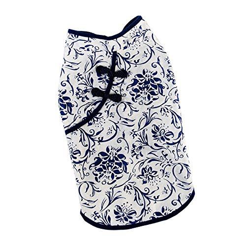 QLMS Haustier-Kleidung Breathable blaues und weißes Porzellan Cheongsam Katzen-Hundeweste (Size : XL) -
