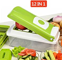 NOVEL Stainless Steel Vegetable and Fruit Chipser with 11 Blades and 1 Peeler Inside (Green, 2902)