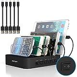 MSTJRY USB Ladestation für mehrere Geräte mit Schalter Handy und Tablet USB Multi Ladestation (5 port mit kabel, Schwarz)