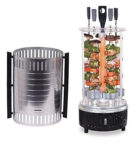 Elektrischer Tisch-Grill für Schaschlik und Gyros, Dreh-Grill 1000 Watt mit Schutzgitter inklusive 5 Spieße, vertikaler (Smoker Grill Teile)