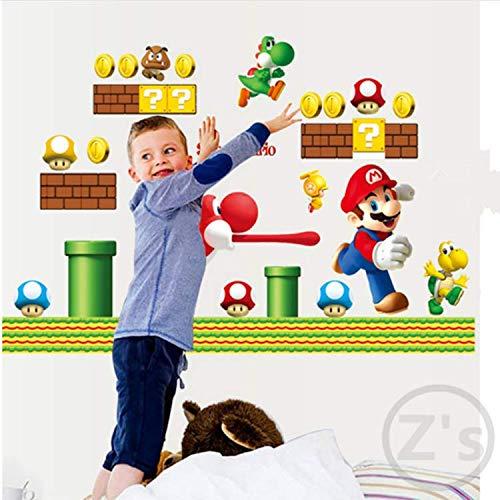 GHUJFDB Aufkleber Mario Wandaufkleber Video Game Home Decor Cartoon Wandtattoo Für Jungen Zimmer Aufkleber Baby Vinyl Wandbild