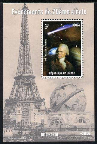 Guinea - Conakry 1998 Events of the 20th Century 1910-1919 Return of Halleys Comet perf souv sht u/m PERSONALITIES EIFFEL TOWER HALLEY SPACE ASTRONOMY JandRStamps -