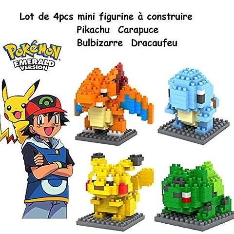 By Channeltoys - Lot de 4pcs mini figurine Pokemon à construire - 4/5cm environ - Jeu de construction - Pikachu Bulbizarre Dracaufeu Carapuce - Boîte d