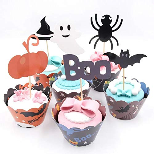 ts Halloween Cupcake Wrappers mit Topper, Halloween Cupcake-Set Halloween Party Supplies ()