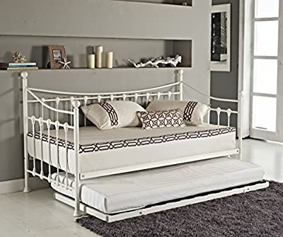 Elegant French Metal Versailles Single Day Bed with Pull Out Guest Trundle Bed- Black or White (White) by Sleep Design
