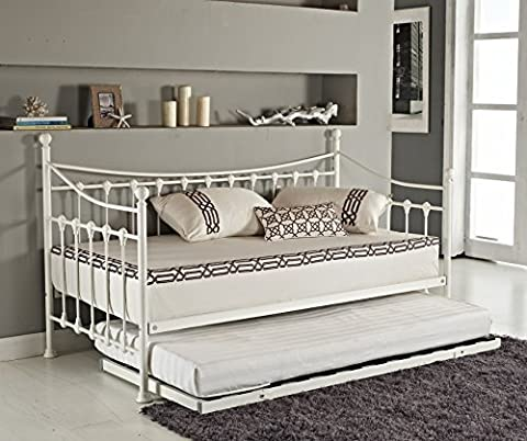 Elegant French Metal Versailles Single Day Bed with Pull Out