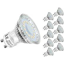LE Bombillas LED GU10 4W = 50W Halógena Blanco frío Pack de 10
