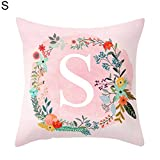 Pink Letters Pattern Throw Pillow Case Sofa Bed Home Car Decor Cushion Cover 45cm x 45cm