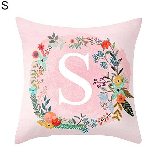 Kissen mit rosa Buchstabenmuster Sofa Bett Zuhause Deko Kissenbezug, 45cm x 45cm, Polyester, S, Einheitsgröße
