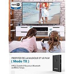 Mpow Transmetteur Bluetooth 4.2 Émetteur et Récepteur Adaptateur Bluetooth 2 en 1 Adaptateur Audio sans Fil Sortie Stéréo de 3, 5 mm aptX Double Appairage pour TV, PC, Système Stéréo de Voiture/Maison