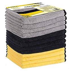 MATCC Microfasertücher 12 x Auto Tücher Auto Trockentücher Poliertücher extrem saugstark und lackschonend Autopflege zur Reinigung von Auto & Motorrad - Mikrofasertücher in 40x40cm