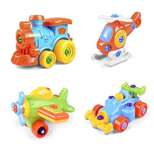 Montage Spielzeug , DIY Demontage Montage Zug Flugzeug Rennwagen Auto Für Jungen Kinder ab 3 Jahre Alt(4 Set) (Spielzeug Auto Flugzeug)