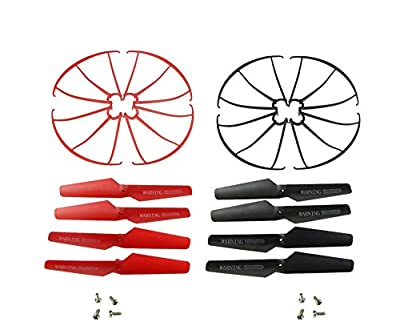 Hometalks®syma X5sw X5c X5sc X5c-1 X5 Quadcopter 8pcs Main Blades Propellers / 2pcs Protection Frame Spare Part for X5sw(black/red)