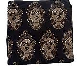 Cotton Kalamkari Handblock Saree Blouse Fabric 100 cms Black base dancers