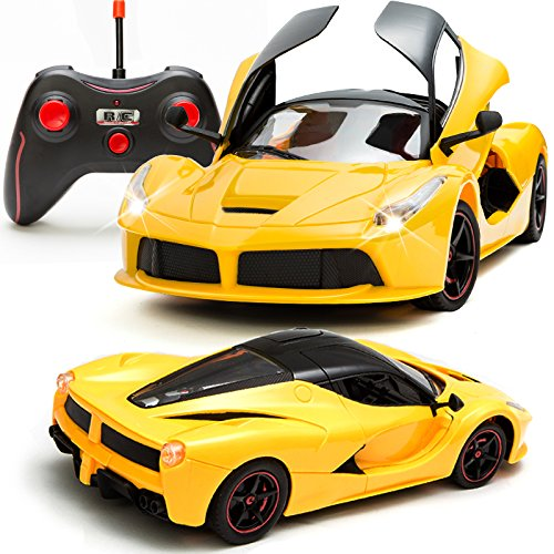 Sunshine Gifting Remote Control Car with Opening Doors Rechargeable Ferrari Design (Yellow)