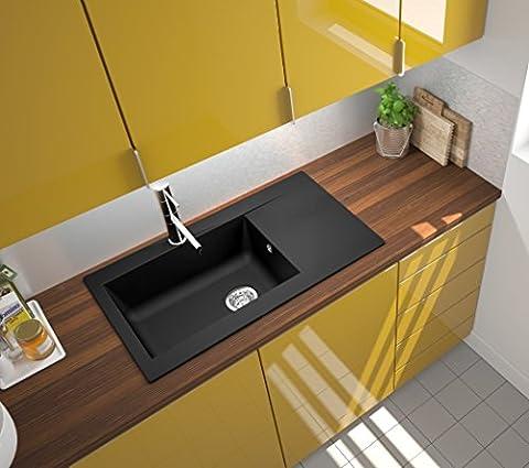 respekta Mineralite Spüle Küchenspüle Spülbecken Einbauspüle Denver 86 x 50