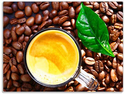 Wallario Stilvolle Glasunterlage/Schneidebrett aus Glas, Kaffee und Bohnen, Größe 30 x 40 cm, Kratzfest, aus Sicherheitsglas (Kaffee-glas-schneidebrett)