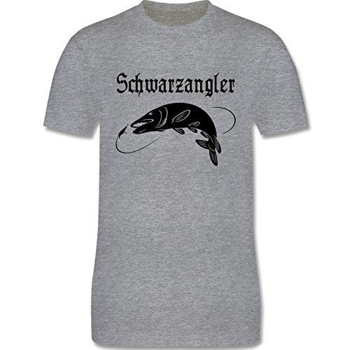 Angeln - Schwarzangler - Herren Premium T-Shirt Grau Meliert