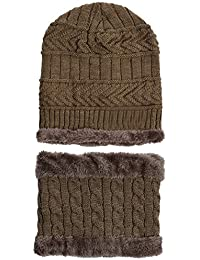 8f66ba6fb1d LQZ Soft Thicken Crochet Knitted Winter Warm Beanie Hat and Scarf Sets for  Men Women