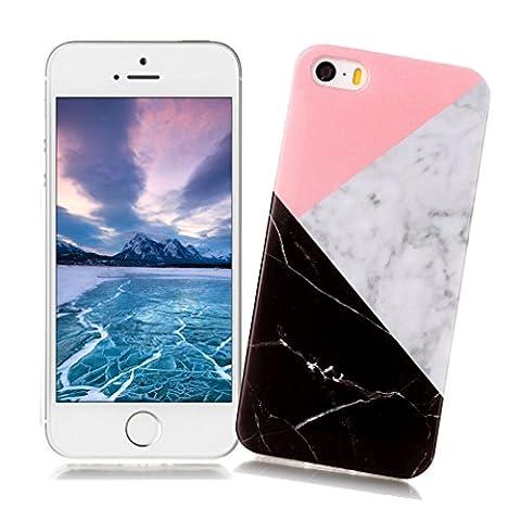 Coque iPhone 5/5S/SE XiaoXiMi Etui en Marbre Texture Housse de Protection Soft TPU Silicone Case Cover Coque Flexible Lisse Etui Ultra Mince Poids Léger Housse Anti Rayure Anti Choc pour iPhone 5/5S/SE - Géométrique