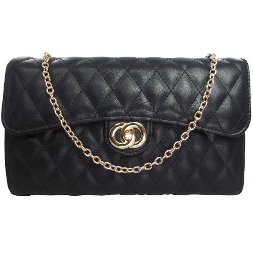 UKFS Designer Promi gesteppte Handtasche / Damen-Mädchen-Kunstleder-Abendtasche (Schwarz) Schwarz