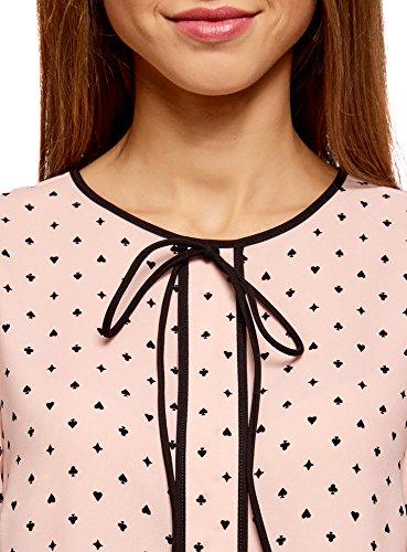 oodji Ultra Damen Kurzarm-Bluse mit Bindebändern und Kontrastbesatz Rosa (4029G)