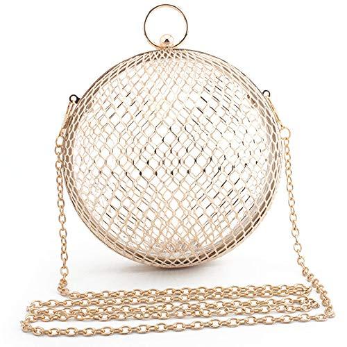 XIANGBAO Frauen-Runde Ball-Kupplungs-Handtasche, Metallring-Griff-Geldbeutel-Abend-Tasche Für Partei-Abschlussball-Hochzeits-Geldbeutel,Gold - Griff-abend-geldbeutel