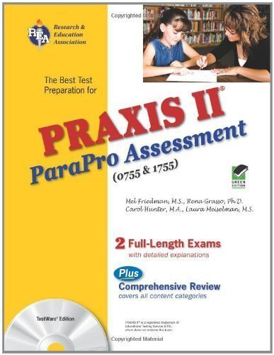 PRAXIS II ParaPro Assessment 0755 and 1755 w/CD-ROM (PRAXIS Teacher Certification Test Prep) by Grasso PhD, Rena Published by Research & Education Association Pap/Cdr edition (2009) Paperback