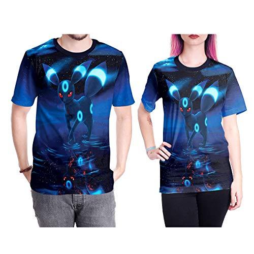 XWQXX Herren T-Shirt Unisex Halloween Cosplay Pokemon Kurzarm,Blue-XL