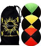 3x Palline da Giocoliere Pro - Set di 3 palline da giocoliere Deluxe (Camoscio) + borsa per il trasporto. Nero con Verde/Giallo/Rosso.