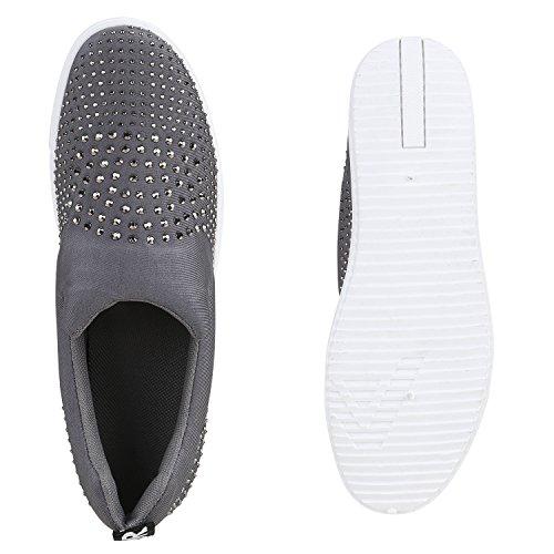 Damen Sneakers Slip-ons Mini-Keilabsatz Strass Prints Schuhe Grau