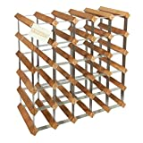 Woodluv 25 Bottles Wood Wine Rack Holder with Storage Stand Organiser