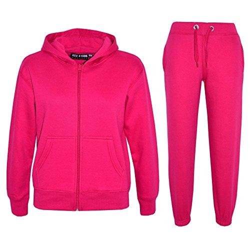 A2Z 4 Kids® Kinder Mädchen Jungen Plain Farbe Trainingsanzug Kapuzenpullover - Rosa, 5-6 Jahre