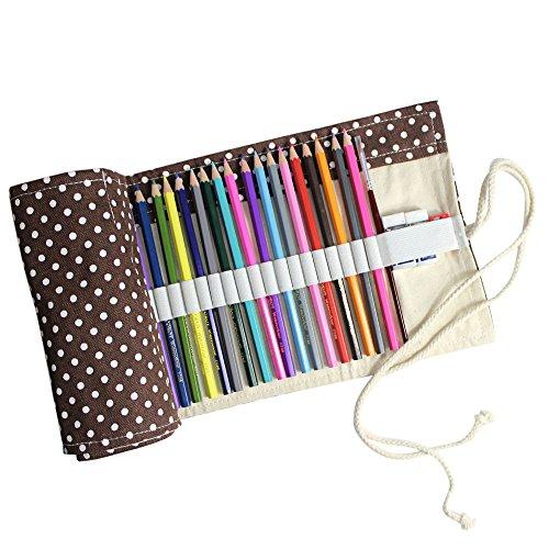Preisvergleich Produktbild Taotree Stifterolle für 72 Buntstifte und Bleistifte, aus Canvas, Stifteetui Roll-up für Künstler, Mehrzwecktasche für Reisen / Schule / Büro / Kunst (Anmerkung: ohne Farbstifte) (Coffee Dot)
