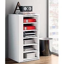 Armario auxiliar zapatero multiusos giratorio 270º color blanco brillo para almacenamiento de cocina, oficina, entrada o dormitorio. 60cm altura x 47cm ancho x 47cm fondo