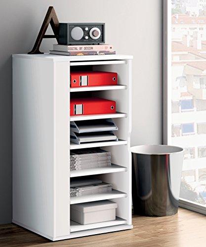 Armario auxiliar zapatero multiusos giratorio 270º color blanco brillo para almacenamiento de cocina...