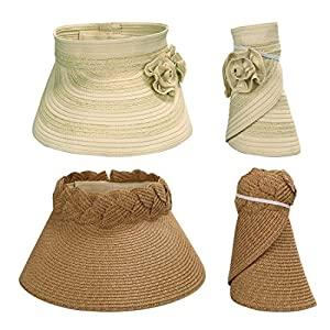 BMC 2pc Roll Up Collapsible Visor Style Straw Hats, Braid + Floral Collection: Beige + Navy Blue