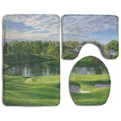 RedBeans Badvorleger, Flanell, 3-teiliges Set, Grand Golf Landscapes Design, Duschmatte und WC-Abdeckung, Rutschfest und extra weich, Rutschfest