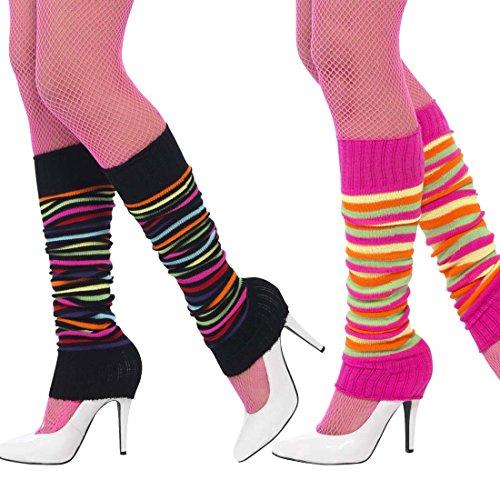 Stulpen gestreift Beinstulpen geringelt schwarz-bunt Leg Warmers 80er Beinwärmer Aerobic Tanzstulpen Ballettstulpen Ringelstulpen (Bunte Stulpen)