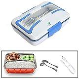 QJONKE Lunchbox Elektrische Lunchbox Elektrische Lunchbox Für Büro und Heimgebrauch 3 Fächer Tragbare Abnehmbare Elektrische Lunchbox Edelstahlbehälter