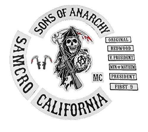 Sons of Anarchy Lot de 13 patchs de taille complète Jax Teller Samcro Noir