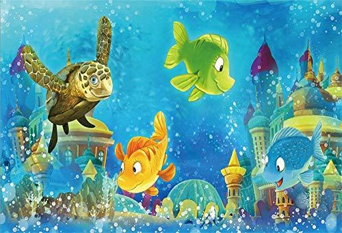 BuEnn 9x6ft Cartoon Unterwasserwelt Hintergrund Märchen Unter Dem Meer Schloss Schildkröte Fische Foto Hintergrund Babyroom Tapete Baby Kindergeburtstag Party Photo Booth Requisiten