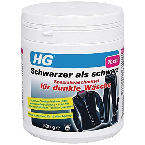HG Schwarzer als schwarz Spezialwaschmittel für dunkle Wäsche, 2er pack (2x 500 gr) – lässt dunkle Textilien wie neu aussehen