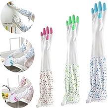 Guantes de limpieza, 3 pares manga larga haz puerto Plus guantes para cocina lavandería para lavar platos de limpieza (tamaño mediano)