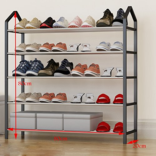 Léger Compact Tall Shoe Organizer en Acier Inoxydable Empilable Boîte À Chaussures Organisateur De Stockage Titulaire 5 Niveau pour 36 Paires De Chaussures (Couleur : Black2)
