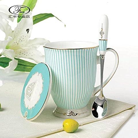 KHSKX Keramik Tasse Tasse Kaffee Tasse Bone China Schale mode Office Cup Cup Cup Idee,Stanz-, Zieh- und Löffel