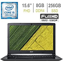 Acer Premium Aspire 5 A515 15.6-inch FHD (1920x1080) Widescreen Laptop PC, 8th Gen Quad-Core Intel I5-8250U Up To 3.4GHz, 8GB DDR4, 256GB SSD, Stereo Speakers, Intel UHD Graphics 620, Windows 10
